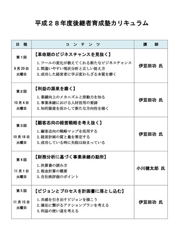 後継者育成塾カリキュラム(