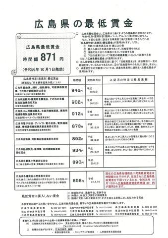広島県の最低賃金
